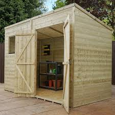 6 X 6 Wood Storage Shed by 10 X 6 Pressure Treated Wooden Garden Storage Shed Pent Roof