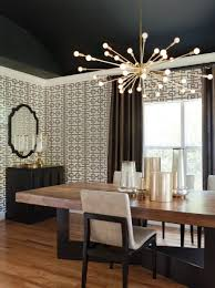 View In Gallery Contemporary Black Dining Room With A Sputnik Chandelier 900x1202 Lighting Ideas For Magazine