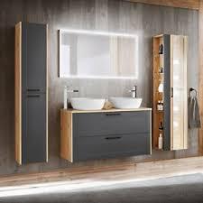 details zu badezimmer badmöbel set doppel keramik waschtisch hochschrank spiegel grau eiche