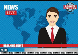 Anchorman On Tv Broadcast News Breaking Vector Illustration Art