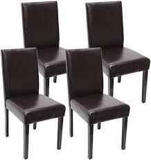 mendler 4x esszimmerstuhl stuhl küchenstuhl littau kunstleder braun dunkle beine