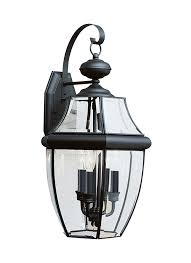 8040 12 three light outdoor wall lantern black