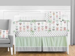mod arrow gray coral mint crib bedding set by sweet jojo