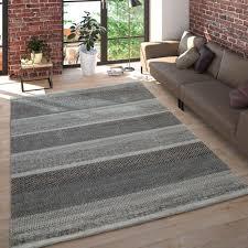wohnzimmer teppich meliertes design gestreift