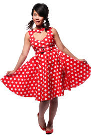 50s sweetheart red polkadot swing dress