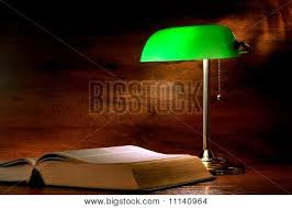 Bankers Lamp Green Glass Shade by Antique Library Study Book Under Image U0026 Photo Bigstock