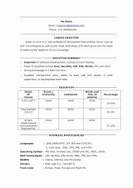 Career Objective For Testing Resume Sample Luxury Software Format Freshers New
