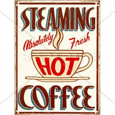 Steaming Hot Coffee Retro Kitchen Sign Counted Cross Stitch Pattern