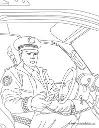 Policeman In His Police Car Coloring Pages
