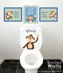 kinder badezimmer wandkunst affen wandtattoo für kinder badezimmer dekor peek a boo monkeys wandkunst badezimmer drucke türschild kinder