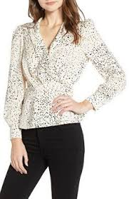 CUPCAKES AND CASHMERE Designer Spatter Dot Surplice Blouse Latest Clothing Trends Holiday Dresses Dress