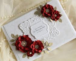 Red Wedding Guest Book Lace And Pearl Style Gold