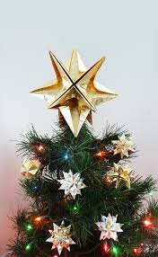 This Listing Is For An Origami Star Christmas Tree Topper Folded Out Of Premium PAPYRUS Gold Foil Wrapping Paper Choose A Size And Finish Regular Stars