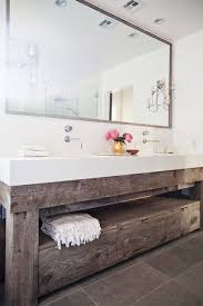 Reclaimed Wood Bathroom Vanity With An Open Shelf And Drawers