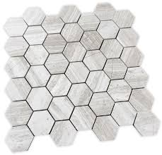 white oak marble limestone 2 hexagon mosaic tile