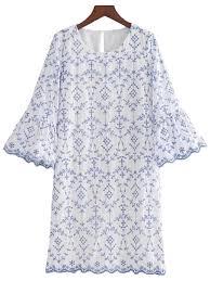 zana u0027 blue eyelet lace scallop hem embroidered dress u2013 goodnight