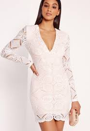lace long sleeve bodycon dress white missguided