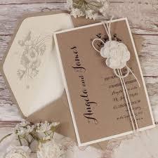 Kraft Paper White Flower Rustic Wedding Day Invitation