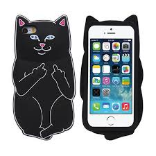 Cute Cat Middle Finger Case For iPhone Mystufffinder
