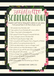 Printable Halloween Scavenger Hunt Clues by Instant Download Printable Bachelorette Scavenger Hunt Game