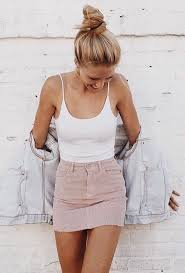 White Singlet Denim Jacket Pink Skirt Casual Outfit Inspiration 2017