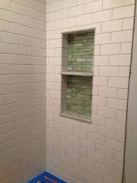 two tier shower niche with subway wall ceramic bathroom