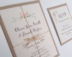 Floral Wedding Invitation Rustic Watercolour Boho Flowers Set