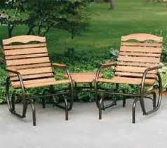 Outdoor Patio Gliders 2 Seat Double Wood Glider With Table Garden