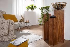 finebuy beistelltisch 3er set massivholz 24 5x85x24 5 cm tische holztisch natur produkt echtholz beistelltische dekosäulen drei holztische braun