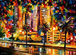 the lights of miami palette knife painting on canvas