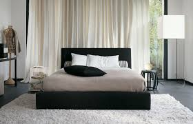 InteriorFascinating Black White Bedroom Scheme With Decorative Pillow And Furry Rug Also Cream