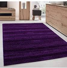 teppich modern kurzflor wohnzimmer teppiche einfarbig uni lila meliert 160x230 cm