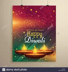 Stylish Diwali Festival Flyer Template With Three Realistic Diya Lamps Fireworks