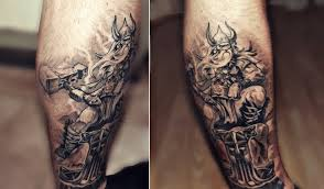 Grey Ink Viking With Hammer Tattoo By Hih13