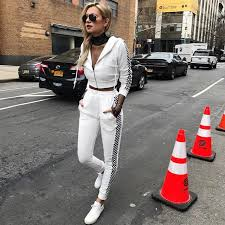2017 Fashion Women Side Plaid Panelled Outfits Casual Tracksuit Zipper Hooded Sweatshirt Jogger Pants Two 2