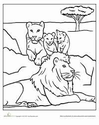 Kindergarten Coloring Worksheets Color The Lion Pride