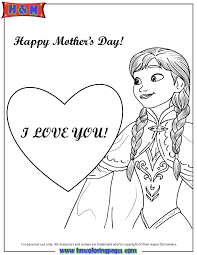 Anna And Heart I Love You Coloring Page