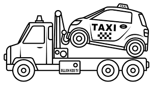 Small Taxi Car Carrier Truck Coloring Pages Colors For Kids Vehicles Video