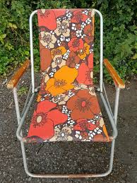 Vintage 60's Floral Folding Chair Beach Camping Garden Festival Retro