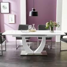 details zu esstisch ulm weißglas und weiß hochglanz ausziehtisch 160 200x90 esszimmer tisch