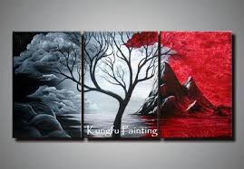 Cheap Tree Oil Goods Buy Directly From China Suppliers 100 Hand Painted Black White Abstract Art 3 Panel Canvas Framed Wall High Quality