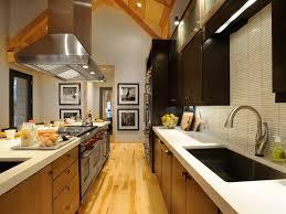 Narrow Galley Kitchen Ideas by Kitchen Fascinating Galley Kitchen Design With Oak Wood Cabinet