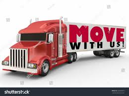 Move With Us Words On A Red Semi Trailer Big Rig Truck To Illustrate ...