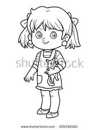 Coloring Book For Children Girl With A Cat