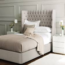 Skyline White Tufted Headboard by Dramatic Tufted Headboard Contemporary Side Tables And Wood Trim