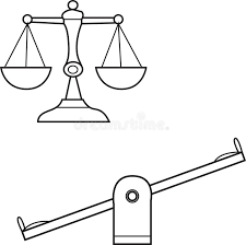 Download Vector Of A Scale And Seesaw Line Stock