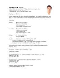College Admission Resume Template Example For High School