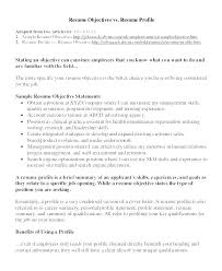 Resume Profile Samples Opening Statement Examples Classic Objective A Sample Example