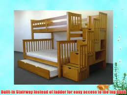 bedz king twin over full stairway bunk bed with twin trundle honey