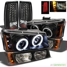 for 03 07 silverado black ccfl projector headlights set led